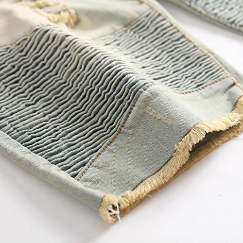 Denim Stile Elecenty Crumple Pantaloni Jeans Vintage Fit Zipper Da Uomo Straight Giallo Casual vwrvXq8
