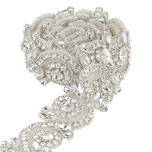 QueenDream 1Yard Bridal Sash Applique Wedding Elegant Bow Rhinestone Applique ()