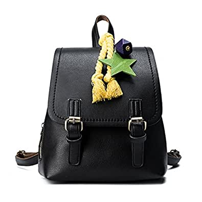 Paddy Meredith Fashion Women Hit Color Pu Leather Backpack School Bags With Sarts Appliques Sweet Girls