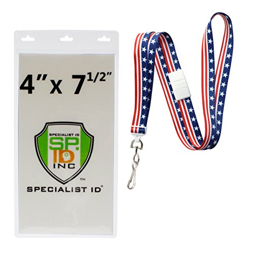 (10 Pack - Special Event 4X7 Extra Large Ticket Holders with Lanyards for Pit Passes and Playoff Games (Stars and Stripes))