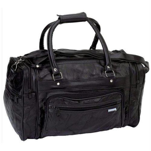 "Maxam 18"" Leather Tote Barrel Bag"