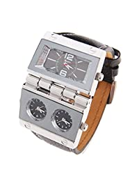 Oulm Replicate Dial Quartz Hours Men Bussiness Sport Wrist Watch Three Time Display (Black)