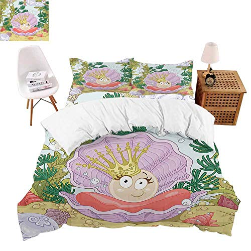 PRUNUSHOME Softest Bedding Cute Princess Pearl in Clam with Crown Tiara Reef Cartoon Print Baby Girl Soft and Comfortable  XLong Twin