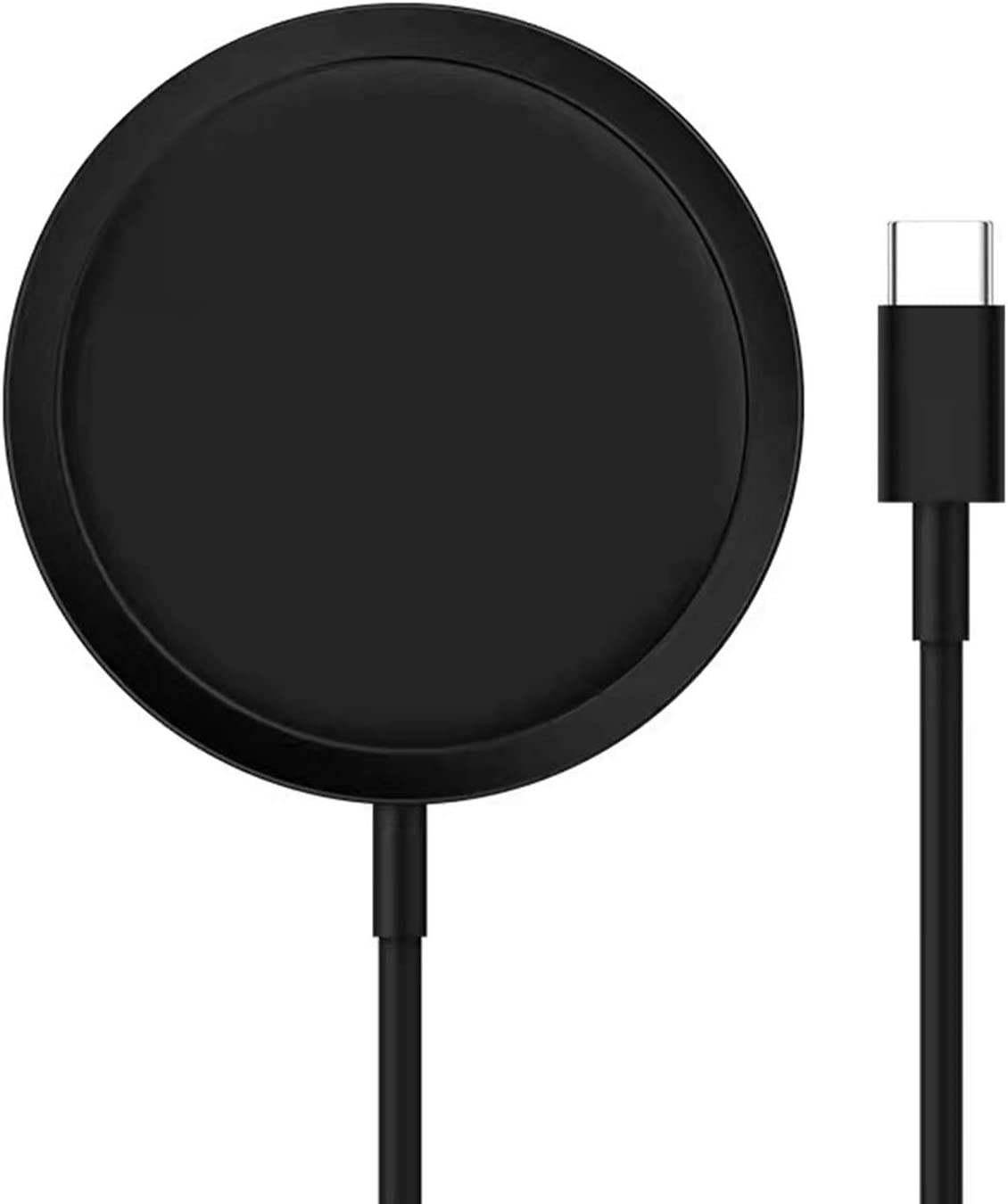 Wireless Charger Magnetic Black Fast Ultra Slim 15W Wireless Charging Station Qi-Certified,Universal Wireless Charging Station Pad Compatible for iPhone 12 and Other QI Devices(No AC Adapter,1 Pack)
