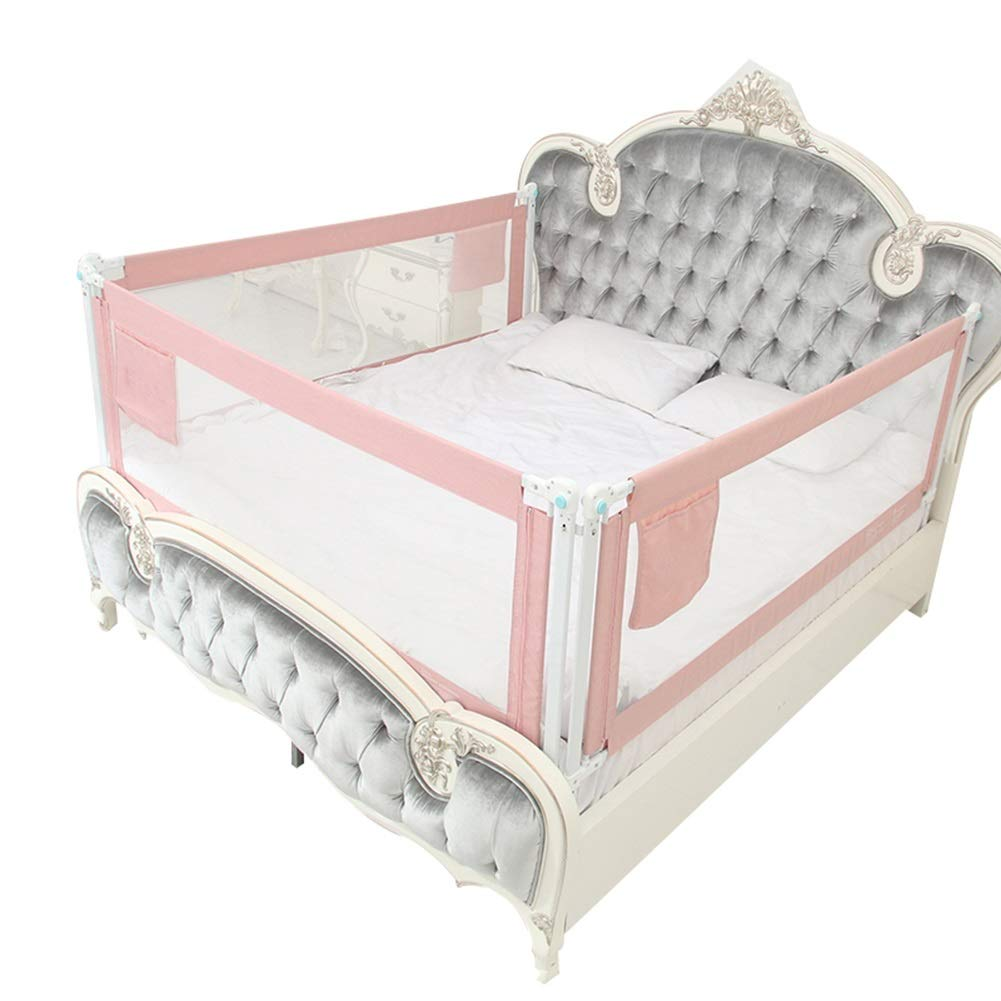 HENGYUS Bed Rail for Toddlers Double Safety Lock Seamless Stitching Stable Structure Guardrail Environmental Protection,3 Colors (Color : Pink, Size : 200x180x68-85cm)
