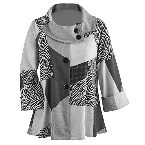 Women's Swing Coat - Puzzle Print Jacket High Collar - Black/White - Xxl