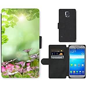 PU LEATHER case coque housse smartphone Flip bag Cover protection // M00152407 Antecedentes de flores de primavera // Samsung Galaxy S5 S V SV i9600 (Not Fits S5 ACTIVE)