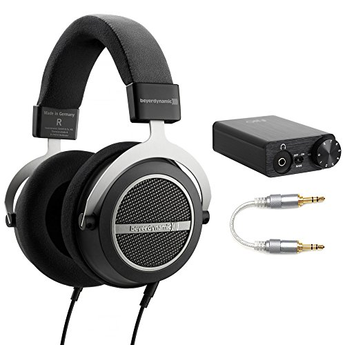 BeyerDynamic Amiron Home Tesla High-End Audiophile Stereo Headphones - 250 OHM (717525) with FiiO USB DAC and Headphone Amplifier, FiiO Professional 3.5mm-to-3.5mm Straight Stereo Audio Cable (Beyerdynamic Home Audio Headphones)