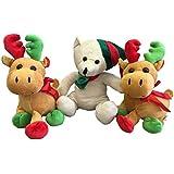 Christmas Holiday Plush Toy Set of 3 Stuffed Animals - 1 Plush Bear + 2 Plush Moose - Stocking Stuffers for Kids - (Light Tan Bear)