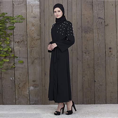 Maxi A Lin Traditionnelle Femme Robe Noir Manches Kimono Longue Osyard Rayures Musulman Gown fq48wSnxX