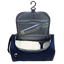 Portable Waterproof Hanging Toiletry Bag Travel Kit Organizer Cosmetic Bag for Men and Women Perfect For Grooming Shaving Dopp Kit (Dark Blue)