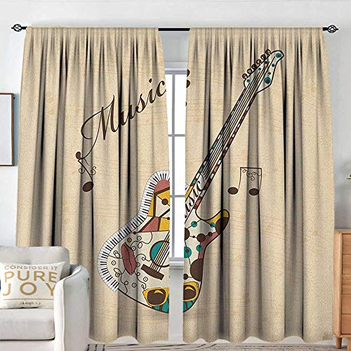Guitar Indoor/Outdoor Single Panel Print Window Curtain Abstract Funky Guitar Instrument Melody Musical Notes and Hand Writing Machine Washable W 72