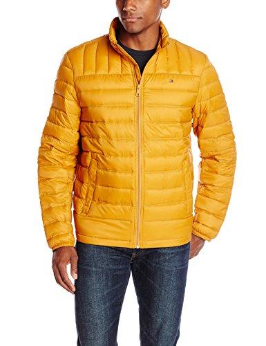 Tommy Hilfiger Men's Packable Down Jacket, Gold, Large