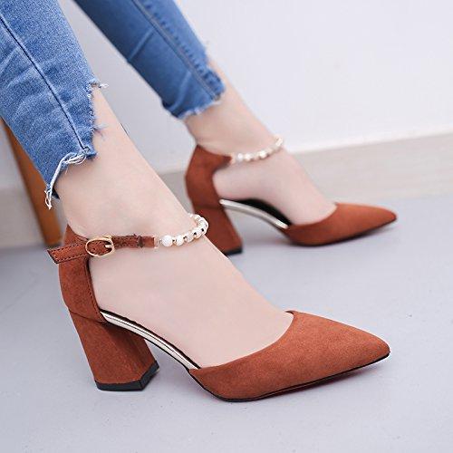 La mujer de verano pies zapatos planos sandalias de fondo 39 de polvo de perlas Brown