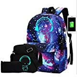 Canvas Casual Laptop Backpack, Lightweight Teen Girls Backpack with USB Charging Port Set 3 Pcs School Bookbags, Water Resistant College School Backpack for Women/Men Fits 15.6 in Laptop Notebook