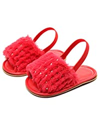 HONGTEYA Baby Girls Sandals Soft Soled Faux Fur Infant Toddler Summer Baby Moccasins Shoes Slippers (6-12 Months/ 6 M US Toddler, Red-Hard Sole)