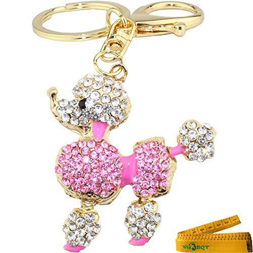 Lovely Sparking Poodle Figure Keychain Charming 3D Bling Diamante Crystal Rhinestone Alloy Metal Key Ring Purse Bag Cell Phone Ornament Pendant Gift (Pink Poodle C)