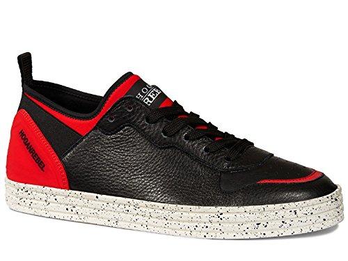 Hogan Rebel R141 zapatillas de cuero y tejido rojo - Número de modelo: HXM1410U371DX50XDL negro