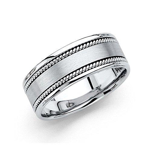 Satin Finish Band Ring (Solid 14k White Gold Wedding Band Rope Edge Ring Satin Finish Comfort Fit Polished Style Mens 8 mm, Size 12)