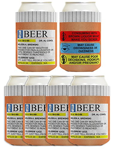 Funny Can Coolie Prescription Gag Gift Rx Pill Bottle Gift Coolie 6 Pack Can Drink Cooler Coolie Multi