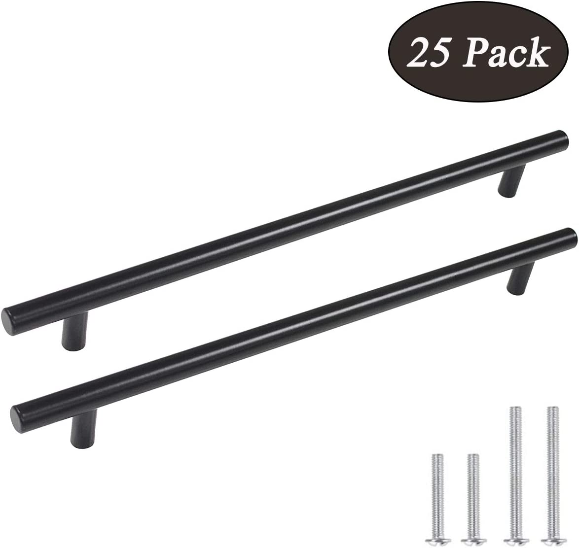 25 Pack Probrico Black Stainless Steel Kitchen Cabinet Door Handles T Bar Drawer Pulls Knobs Diameter 1//2 inch Hole Centers:3inch-5inch Length