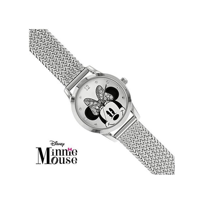 51qY1KsL wL Reloj de Minnie Mouse para adultos Esfera de 30 mm Correa de malla de metal plateado