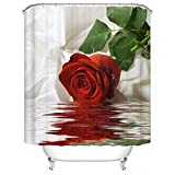 Shower Curtains with Red in Them DECMAY Vivid Red Rose Image 3D Shower Curtain, Beautiful Flower and Green Leaves on The Water Bathroom Decor Curtain 71