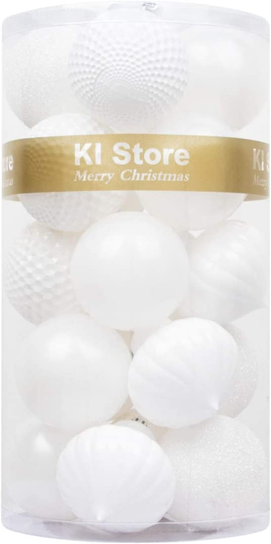 """KI Store 20ct Christmas Ball Ornaments Shatterproof Christmas Decorations Large Tree Balls for Holiday Wedding Party Decoration, Tree Ornaments Hooks Included 3.15"""" (80mm White)"""