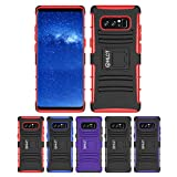 Galaxy Note 8 Case, HLCT Rugged Shock Proof Dual-Layer Case with Built-In Stand Kickstand for Samsung Galaxy Note 8 (2017) (Red)