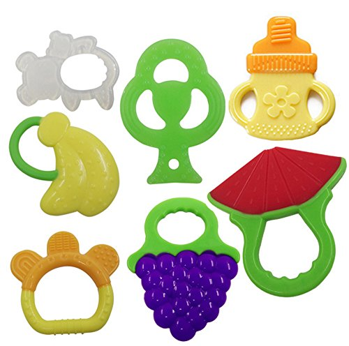 Price comparison product image 7 Pack Baby Teething Toys (Natural, Organic, BPA- Free, Freezer Safe) Infants and Toddlers