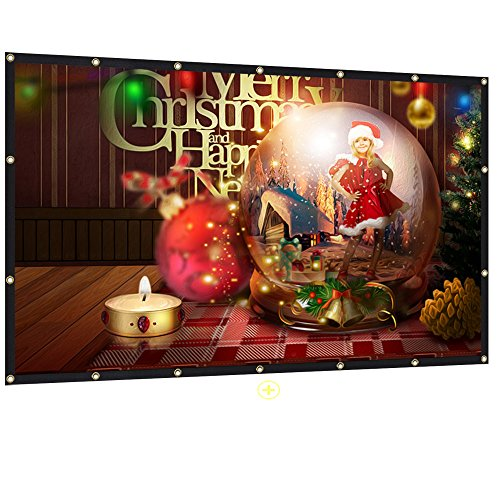 Mdbebbron 120 inch Projection Screen 16:9 HD Foldable Anti-Crease Portable Projector Movies Screen for Home Theater Outdoor Indoor Support Double Sided Projection by Mdbebbron