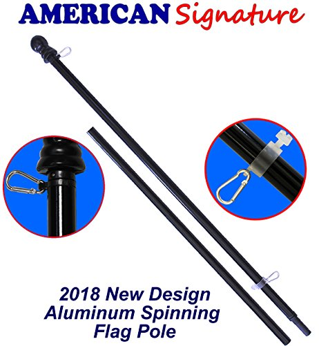 American Signature Flag Pole 6 ft - Heavy Duty Aluminum Tangle Free Spinning Flagpole with Carabiners - 2018 New Enhanced Design Outdoor Wall Mount Flagpole for Residential or Commercial. (6', Black) by American Signature