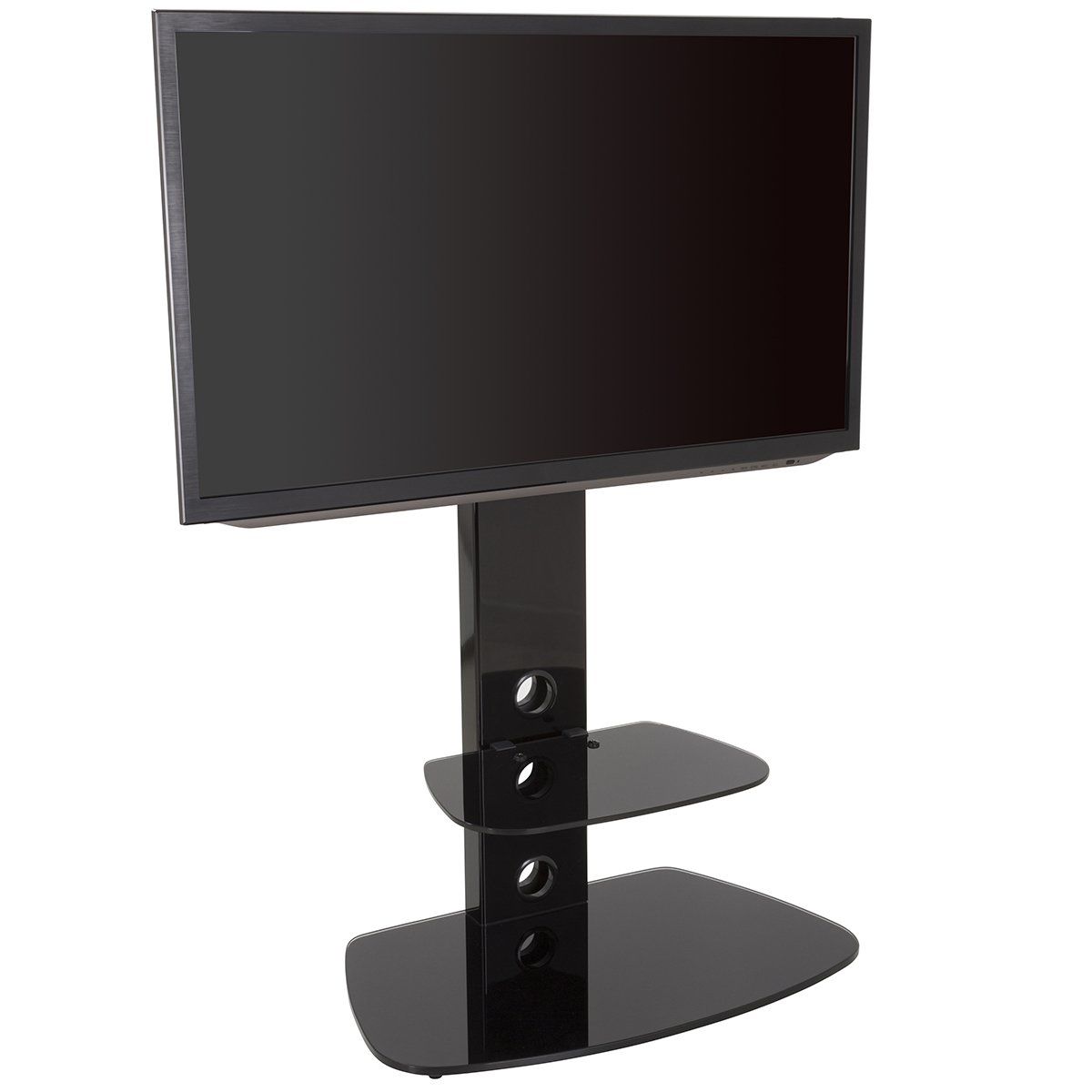 in black with oval black glass VESA compatible with curved /& flat LCD /& LED TVs King TV Stand with Bracket Cantilever for 32 37 39 42 45 47 49 50 55 60 65 TVs