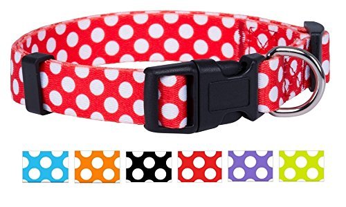 Native Pup Polka Dot Dog Collar (Red, Large)