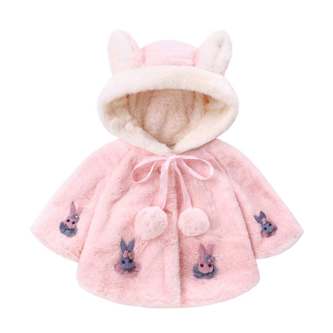 Baby Girl Winter Warm Coat,Jchen(TM) Clearance! Infant Kids Baby Girls Long Sleeve Cute Rabbit Hooded Coat Warm Outerwear for 0-3 Y (Age: 0-12 Months, Pink)