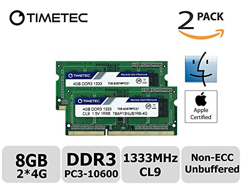 Timetec Hynix IC Apple DDR3 1333MHz PC3-10600 Non-ECC 1.5V CL9 2Rx8 Dual Rank 204 Pin SODIMM Laptop Notebook Computer Memory Ram Module Upgrade (High Density 8GB Kit (2x4GB)).