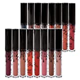 Richoose 16 Colors Set Waterproof Liquid Makeup Lip Pencil Matte Lipstick Lip Gloss Super Long Lasting (16 Pcs)