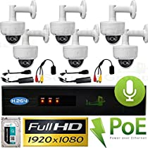 USG Business Grade Premium 6 Camera With Audio 1080P HD IP CCTV Kit With Built-in PoE Ports: 1x 8 Channel NVR + 6x 1080P 2.8-12mm PoE IP Dome With Wall Mount Bracket Cameras + 1x 3TB HDD + 2x Microphones + 2x PoE Mic Power Kits High Definition CCTV Video Surveillance