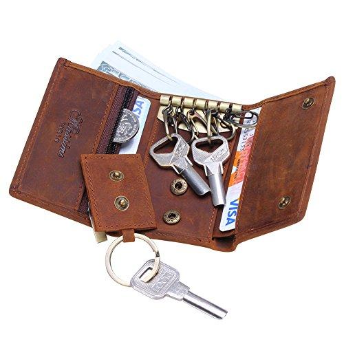 Win&Income Echt Leder Herren Schlüsseletui Schlüsseltasche mit 6 Schlüsselhaken Schlüsselmäppchen, Braun