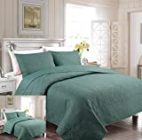 Mk Collection 3pc King/California King Oversize Luxurious Embossed Coverlet Bedspread Set Solid Spa Blue New