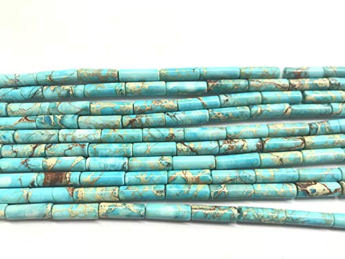 Turquoise Tube Beads - 13x4mm Imperial Jasper Column Sea Sediment Jasper Dyed Loose Tube Beads 15 inch Jewelry Supply Bracelet Necklace Material Support (Turquoise Blue)