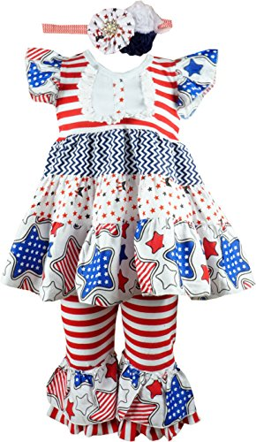 Baby Toddler Little Girls Americana Patriotic Stars Clothing Set 5]()