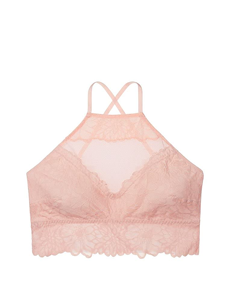 f63ed917c6a Victoria s Secret PINK Floral Lace High-Neck Unlined Bralette Euphoria Pink  (Small) at Amazon Women s Clothing store