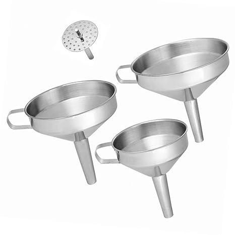 Felly Embudo Acero Inoxidable 3 Piezas Embudo Cocina con Colador para Transferir Líquidos Aceites, Ingredientes Secos y Polvos