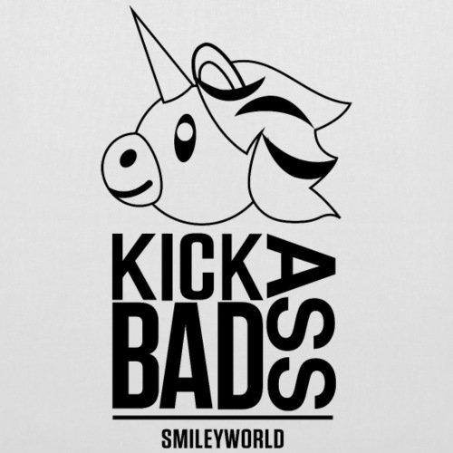 Spreadshirt Smiley World Badass Kick Ass Unicorn Stoffbeutel Weiß