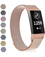 AK Strap Compatible with Fitbit Charge 3 Strap, Metal Loop Stainless Steel Adjustable Replacement Bands with Magnetic Closure for Fitbit Charge 3 Small Large Women Men (06 Lavender, L)