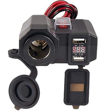 Semoss 3 en 1 Kit Impermeable 12V Dual USB Cargador de Moto con Encendedor Universal para Auto Navegación GPS iPhone Galaxy Huawei Smartphones