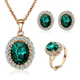 Yoursfs Princess Kate Middleton Diana Style 18k Rose Gold Plated Green Emerald Earring and Ring and Necklace Sets