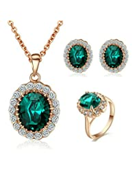 [Mother's Best Gift] Yoursfs Gorgeous Green Emerald Jewelry Set for Women 18k Rose Gold Plated Austrian Crystal Necklace & Earrings & Ring Set