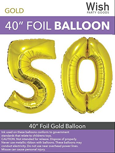 Wish Party Goods Extra Large Giant Jumbo 40 inch Gold Color High Quality Mylar Foil Number Balloons - Special Milestone Birthday/Anniversary/Wedding Party Event Decorations (50) by Wish Party Goods